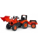Tractor a pedales Kubota M135GX con pala y remolque.