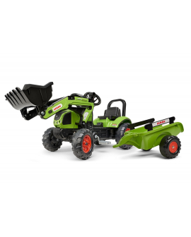 Tractor-pedales-Claas-Arion-410-pala-remolque-2040AM-Falk-agridiver-verde
