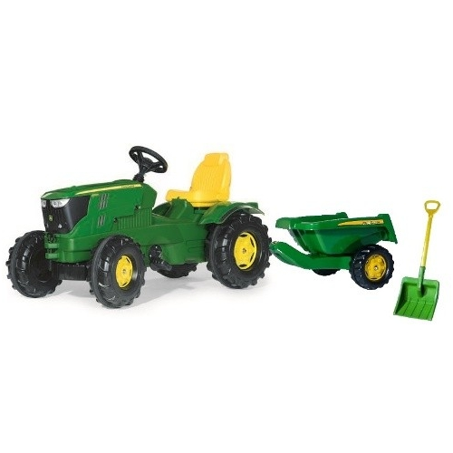 Tractor-a-pedales-John-Deere-6210-remolque-Rollykipper-