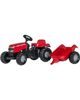 Tractor-a-pedales-Massey-Ferguson-remolque- Rollykid-012305-Rollytoys-agridiver-rojo