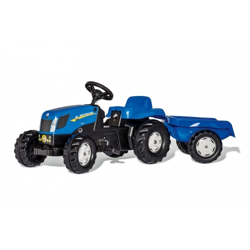 Tractor a pedales New Holland T7040 con remolque Rollykid 013074 Rolly toys