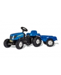 Tractor a pedales New Holland T7040 Rollykid con remolque.