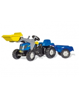 Imagén: Tractor a pedales New Holland T7040 Rollykid con pala y remolque